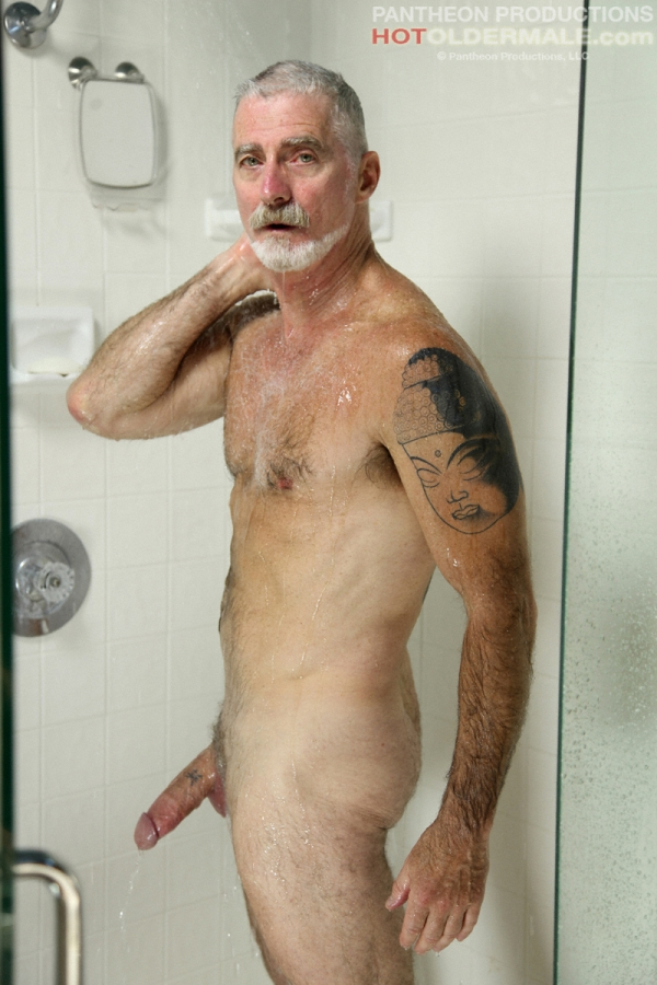 old hairy naked man in shower